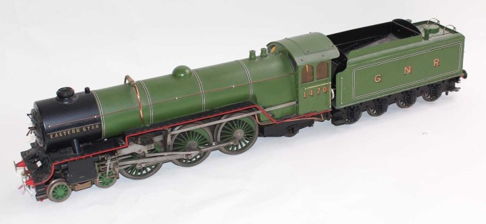 Alongside media toys, steam engine models like this 2.5 inch gauge live steam locomotive and tender 4-6-2 Great Northern Railway Pacific 'Eastern Star' No. 1470 are also popular lots