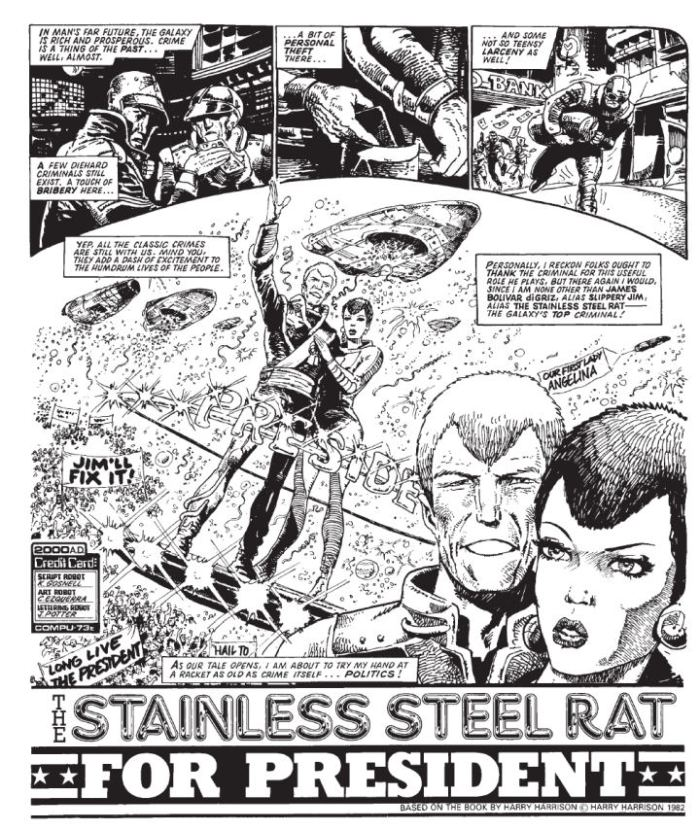 """2000AD - """"The Stainless Steel Rat for President"""" - art by Carlos Ezquerra"""