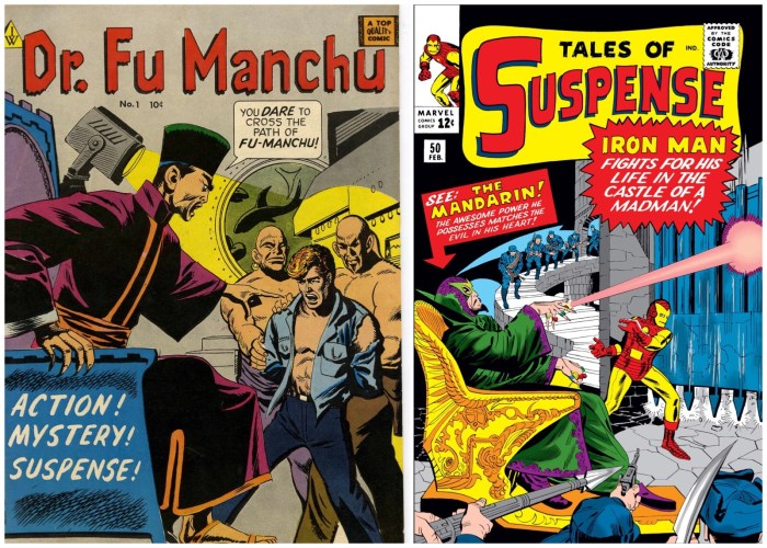 Jack Kirby's cover for Marvel's Tales of Suspense #50 (right), introducing the Mandarin in 1964, has echoes of I.W. Publishing's Dr. Fu Manchu No. 1, published in 1958