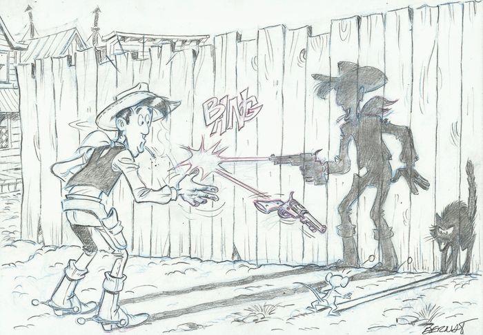 """An original """"Lucky Luke"""" drawing by Bernat Serrat"""