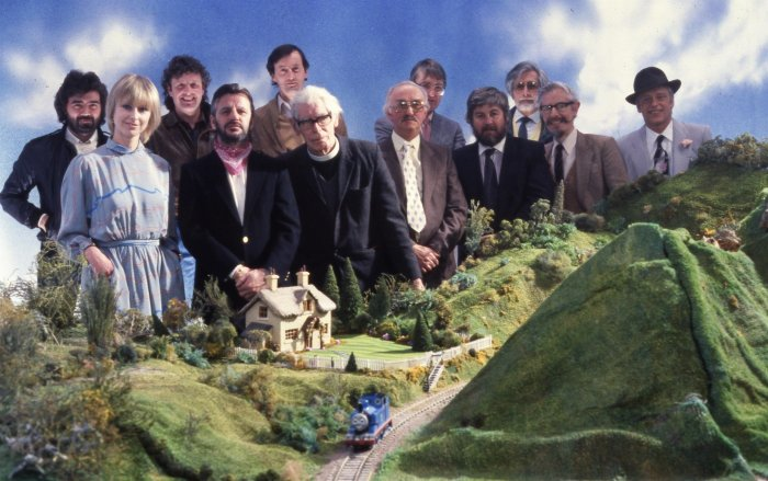 Image: Rev Awdry with Ringo Starr and crew in 1984. Image: Mattel Inc