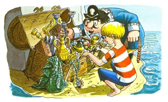 Captain Pugwash and Tom the Cabin Boy discovering treasure © The Estate of John Ryan