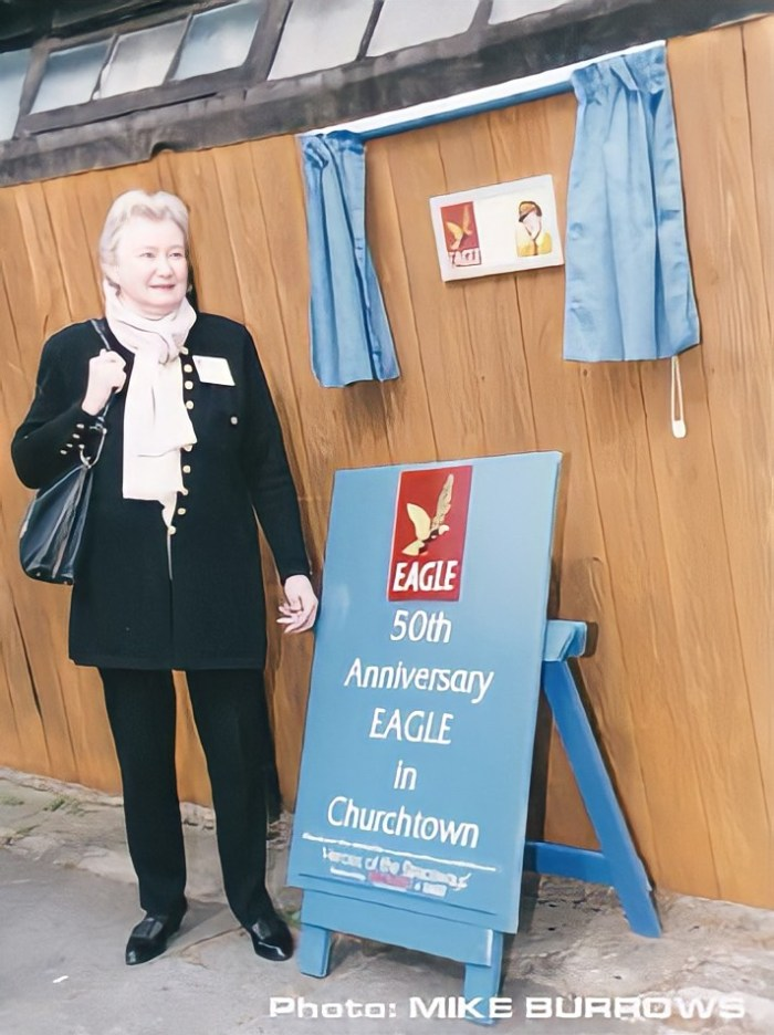 Greta in 1990, at the unveiling of the Commemorative Plaque at the Old Bakehouse in Churchtown. Photo by Mike Burrows, used here with his kind permission