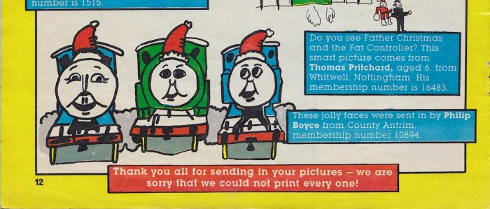 Philip Boyce's drawing in Thomas the Tank Engine and Friends Christmas Issue