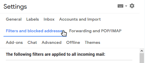 select Gmail filters