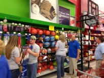 Picking out sporting goods equipment at Jumbo, the big store in the Dominican