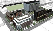 rendering of a building where a parking garage will be developed