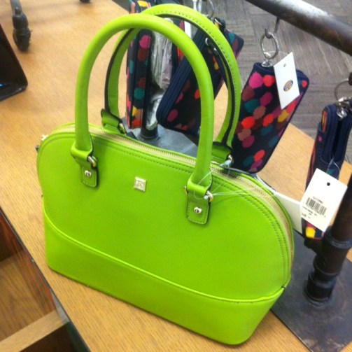 An amazing bright lime-green purse you can carry from the Bay, if green just isn't your colour