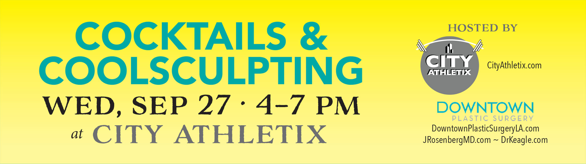 Please join us September 27, 2017 for Cocktails and CoolSculpting at City Athletix