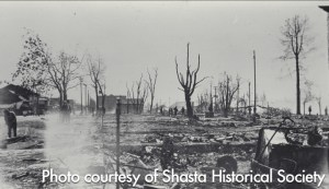 A southerly view of Redding's red-light district after the fire of 1908, taken near the corner of Division & California Streets.