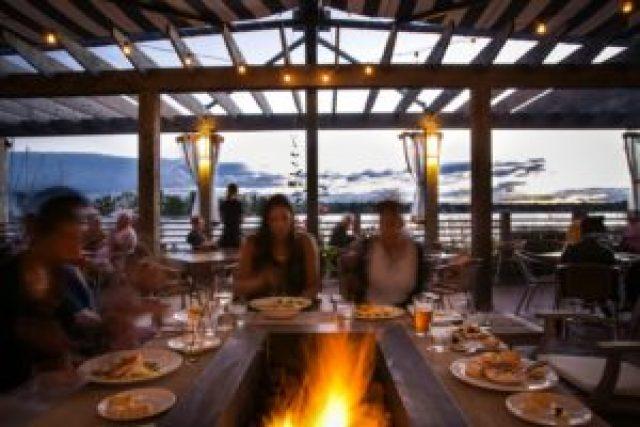 The PORT restaurant patio in the Pickering Nautical Village.