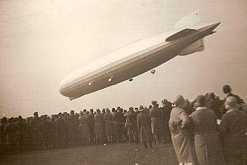 People watching the landing of Zeppelin LZ 127