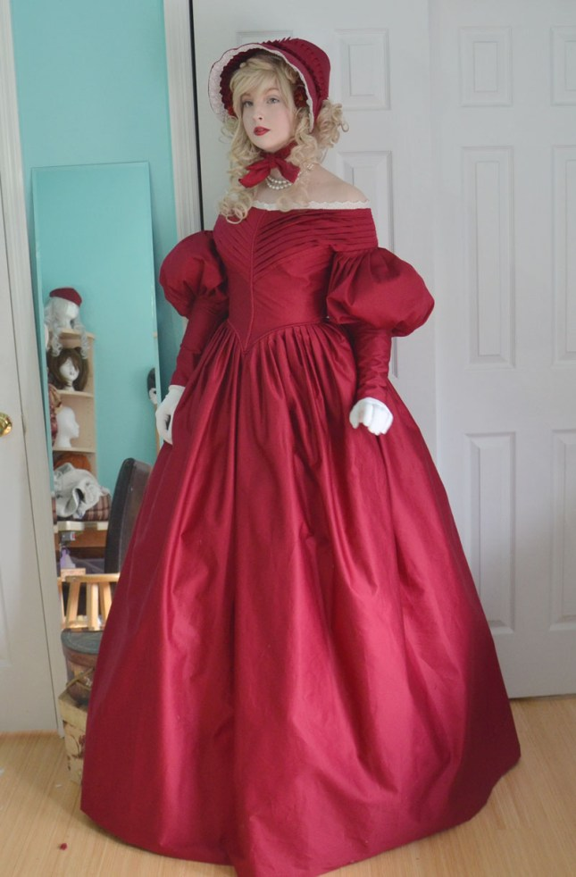 1830s Pleated Red Day Dress Angela Claytons Costumery Amp Creations