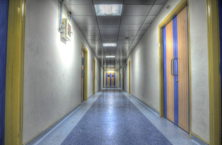 A picture of a hospital hallway
