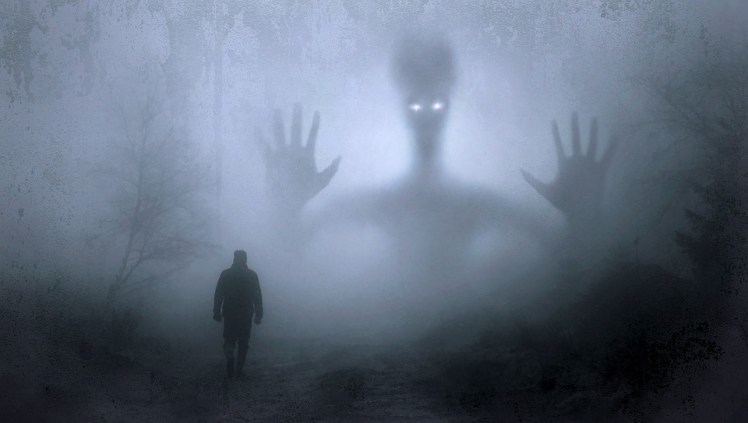 A ghostly image of a man.