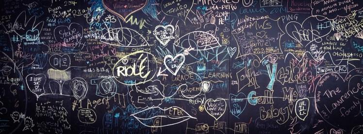 Scribbling on a chalkboard.