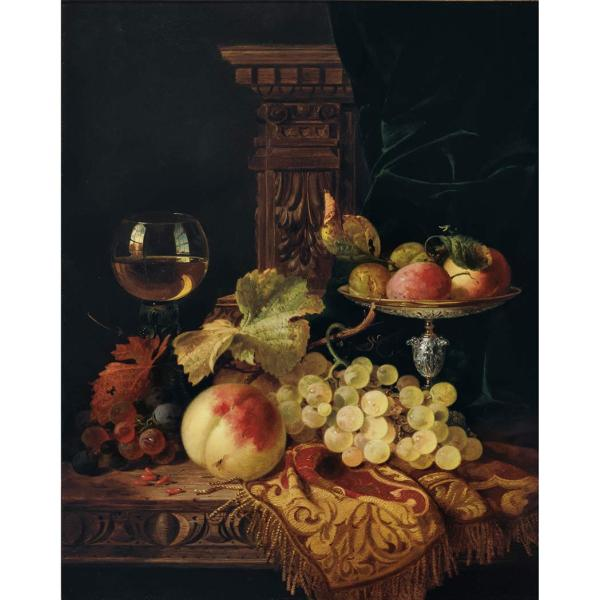 Edward Ladell British 1821-1886 Life With Fruit And
