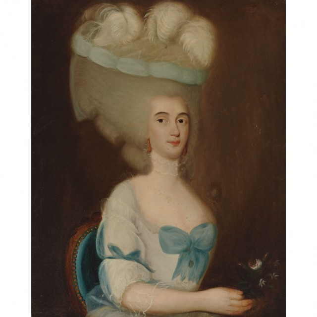 French School 18th Century Portrait Of A Lady With