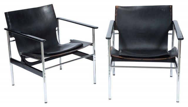 leather sling chairs office chair viking pair of chrome and doyle auction house