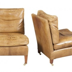 Brown Slipper Chair Art Deco Chairs Pair Of Goatskin Leather Upholstered Doyle