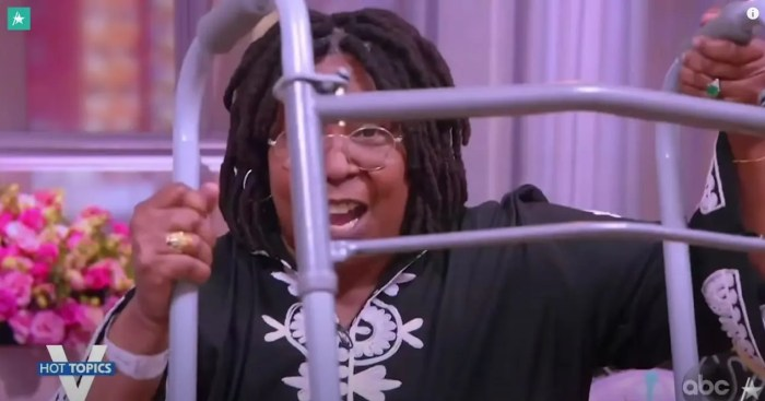 Whoopi Goldberg holding up her walker the view