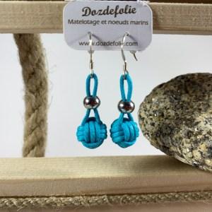 Boucles d'oreilles pomme de touline Coton turquoise