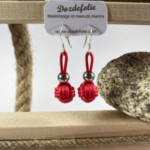Boucles d'oreilles pomme de touline Coton rouge