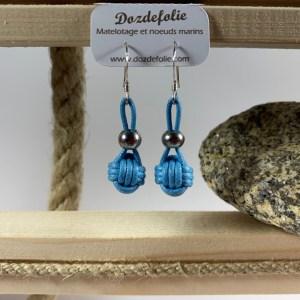 Boucles d'oreilles pomme de touline Coton bleu ciel