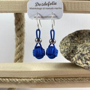 Boucles d'oreilles pomme de touline drisse bleue