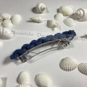 Barrette à cheveux chanvre bleu