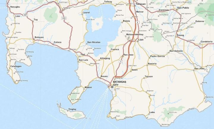 Kaart Batangas, Luzon, Filipijnen