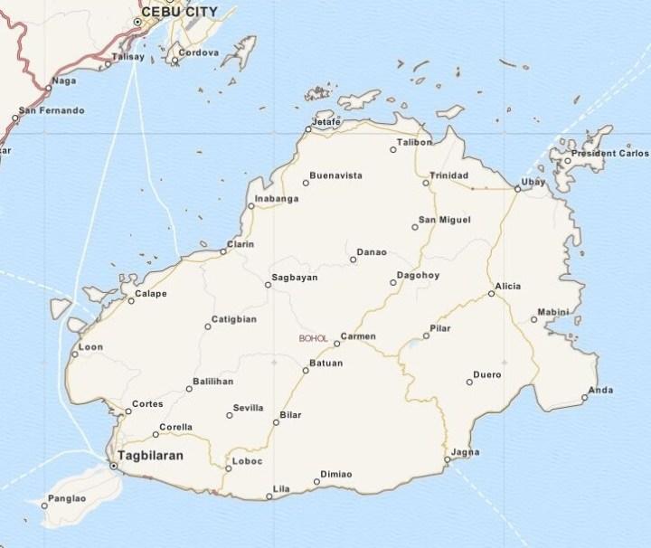 Kaart provincie Bohol, Central Visayas, Filipijnen
