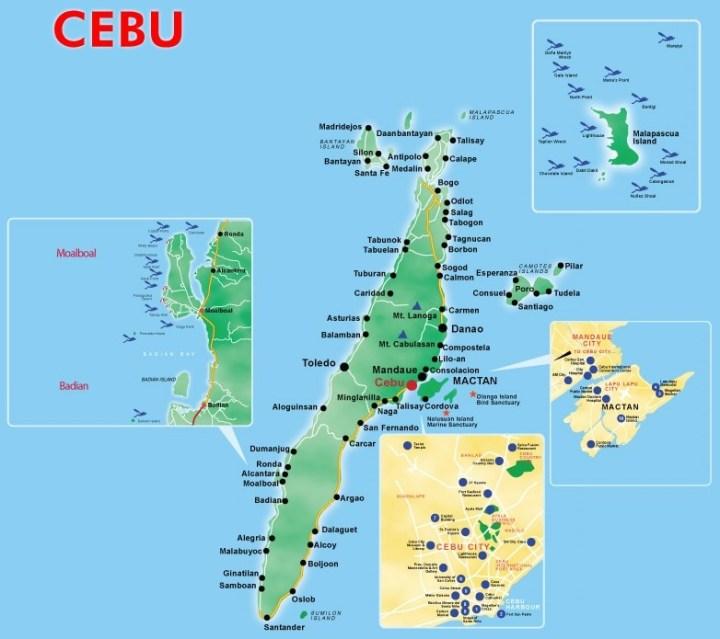 Kaart provincie Cebu, Central Visayas, Filipijnen