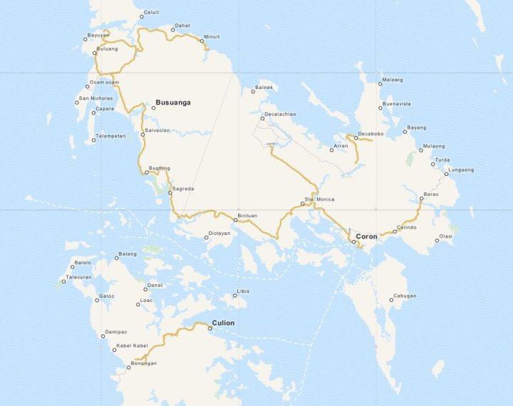 Kaart Coron Omgeving, Palawan, Filipijnen