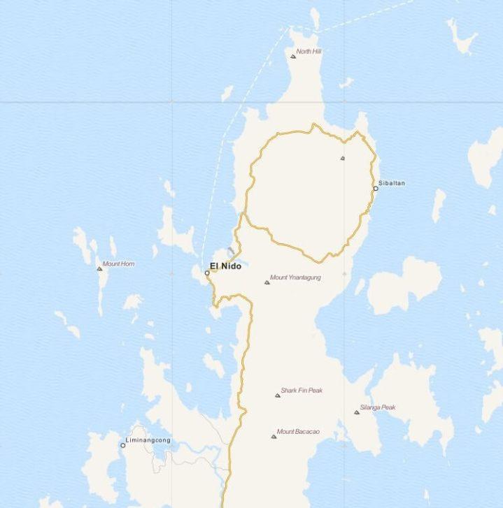 Kaart gemeente El Nido op Palawan Island, Filipijnen