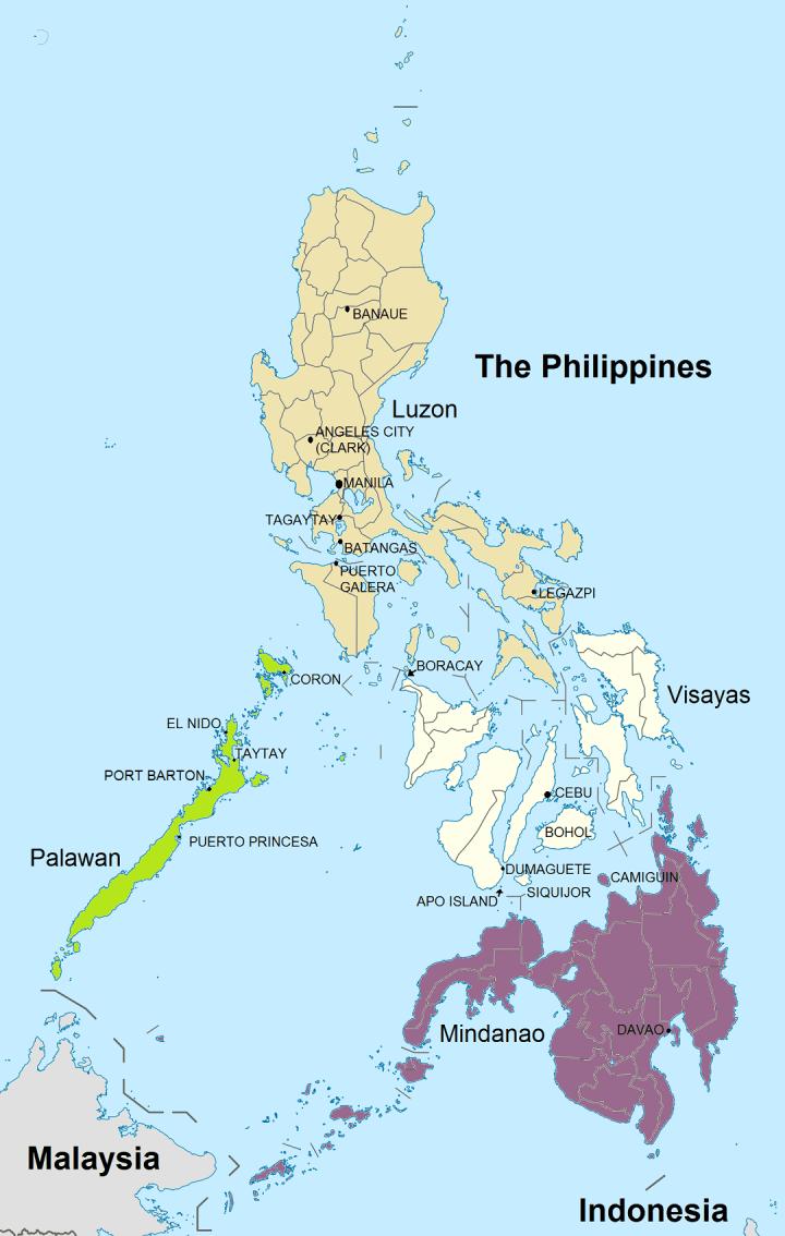 Kaart met de belangrijkste bestemmingen voor een vakantie Filipijnen