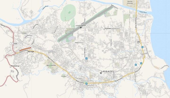 Kaart Legazpi City, Luzon, Filipijnen