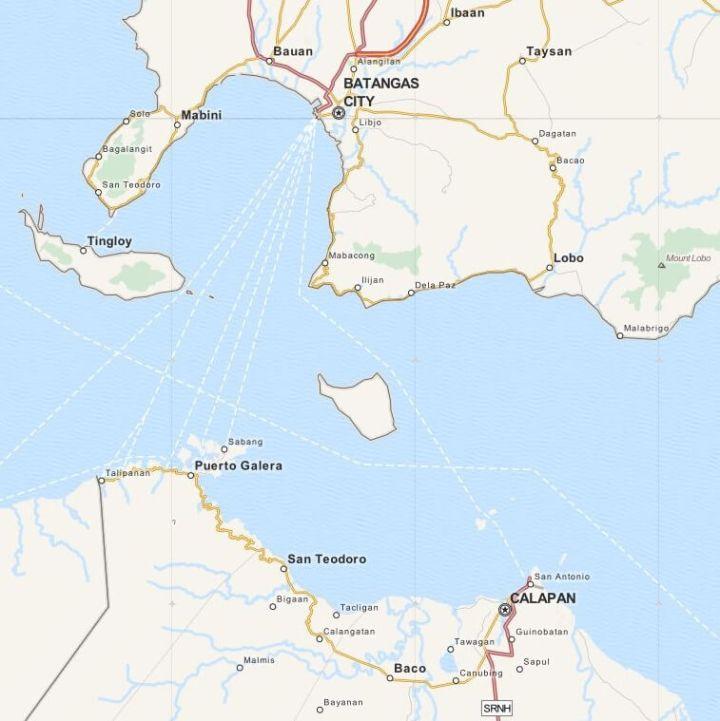 Kaart Puerto Galera en omgeving, Luzon, Filipijnen
