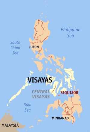 Locatie Siquijor - Central Visayas, Filipijnen
