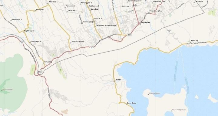 Kaart Tagaytay, Luzon, Filipijnen