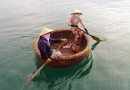 Bamboe mandbootje - Hoi An, Midden Vietnam