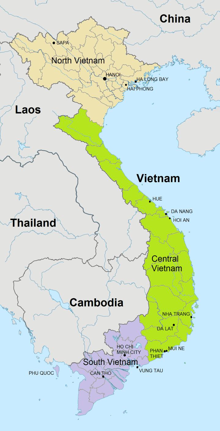 Kaart Vietnam met onze belangrijkste bestemmingen