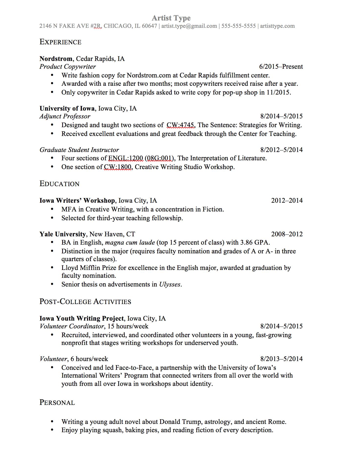 resume application for job