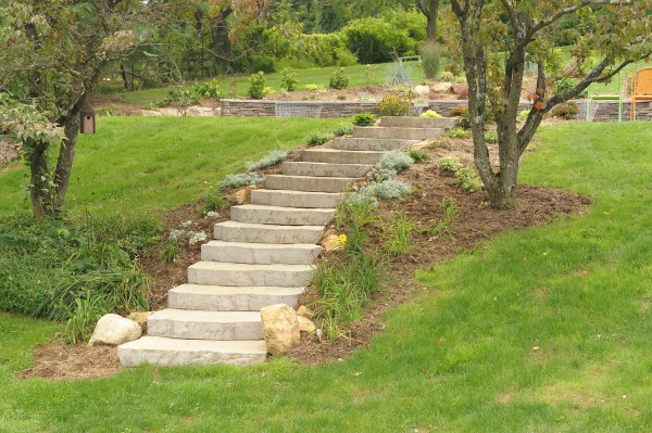 hardscape steps waterfall & pool