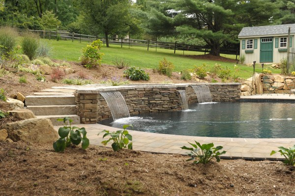 hardscape steps waterfall & pool