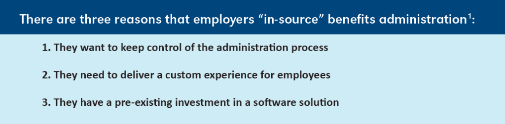 Three reasons employers do not outsource benefits administration:   1. They want to keep control of the administration process  2. They need to deliver a custom experience for employees  3. They have a pre-existing investment in a software solution