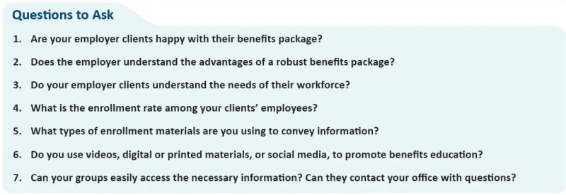 Questions to Ask 1. Are your employer clients happy with their benefits package? 2. Does the employer understand the advantages of a robust benefits package? 3. Do your employer clients understand the needs of their workforce? 4. What is the enrollment rate among your clients' employees? 5. What types of enrollment materials are you using to convey information? 6. Do you use videos, digital or printed materials, or social media, to promote benefits education? 7. Can your groups easily access the necessary information? Can they contact your office with questions?