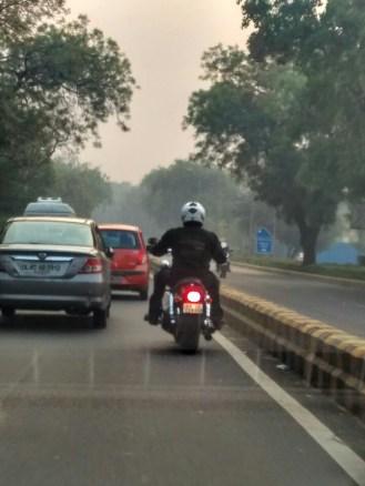 Weekend Road Trip To Mussoorie -Harley Biker on Delhi Road at sunrise