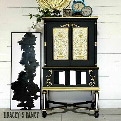 Whimsical Black & White Cabinet / Bar
