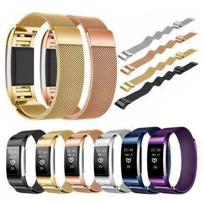 Bakeey Replacement Magnetic Stainless Steel Wristband Strap For Fitbit Charge 2 Tracker